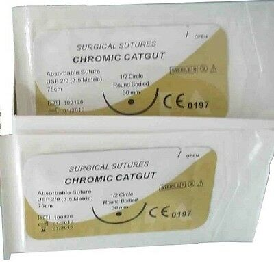 2 Surgical Sutures Chromic Cat Gut Emergency First Aid Survival Tactical #300C