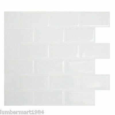 Smart Tiles SM1020-1 SELF-ADHESIVE WALL TILES 1/SHEET SUBWAY WHITE 0.64 sq/ft