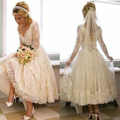 New  Vintage Long Sleeve Lace Short Wedding Dress Bridal Gowns Custom