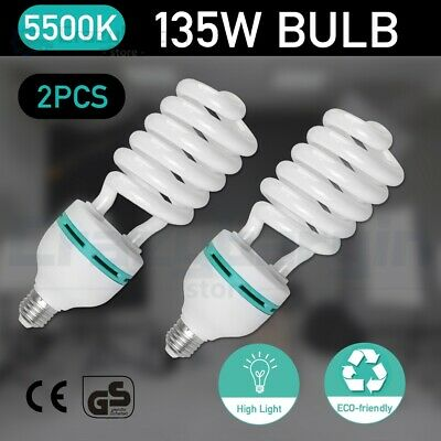 2x135W 5500K Daylight Spiral Light Bulbs Energy Saving Fluorescent Lamp E27 CFL