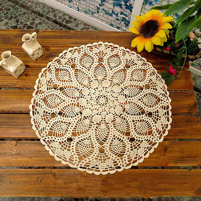 60CM Round Cotton Pineapple White Floral Hand Crochet Doily Placemat Table Cloth