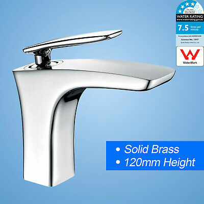 WELS Solid Brass Basin Mixer Bathroom Vanity Chrome Faucet Tap H C Waterfall