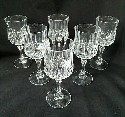 CRISTAL D'ARQUES LONGCHAMP SET OF 6 CRYSTAL WINE GLASSES 24% lead 5 1/2 inches