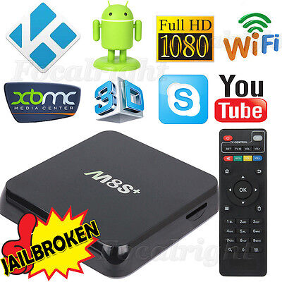 M8S+ Plus KODI XBMC Quad Core Android 4.4 TV Box Fully Loaded Free Sports Movies