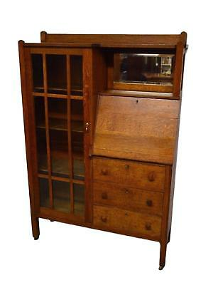Antique Mission Arts and Crafts Solid Oak Side by Side Secretary w. Bookcase
