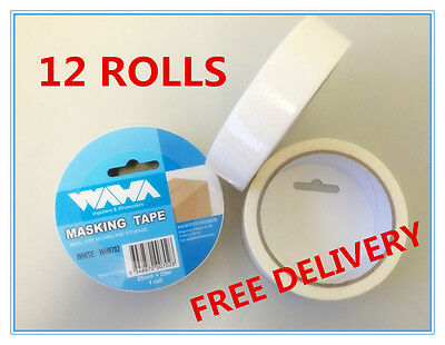 12 ROLLS-PREMIUM WHITE TAPE 25mm x20M PAINTING PAINTER SCOTCH MASKING CAR HOUSE