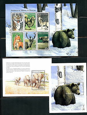 Comoro Islands 1999 #907-9  fauna bears elephants tigers sheets  MNH  H479