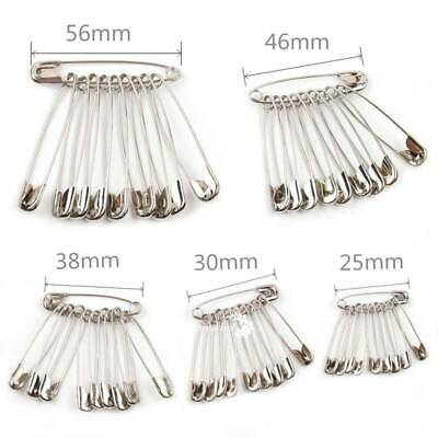 25/30/38/46/56mm 100pcs Safety Pins Silver Assorted Size Sewing Craft Wedding