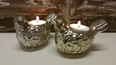 Silver or Gold Antique Style Glass Bird/Dove Tea Light Holder Vintage Wedding