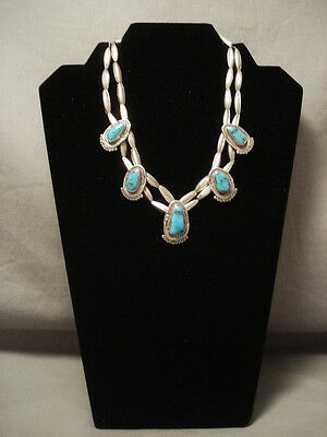 "Museum Vintage Navajo """"torpedo Galore"""" Silver Turquoise Necklace"