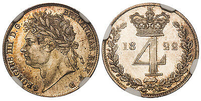 GREAT BRITAIN George IV 1822 AR Maundy Set. NGC MS63-66. KM-MDS67; SCBC-3816