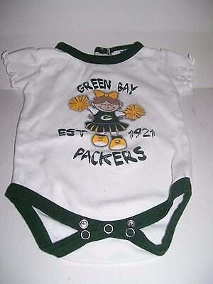 8919791c GREEN BAY PACKERS Baby Girl Infant One Piece Creeper NFL Cheer Size 0-3  months