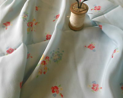 Vintage French Floral Silk Fabric ~ Soft Blue Coral Yellow ~ Dolls Blouse