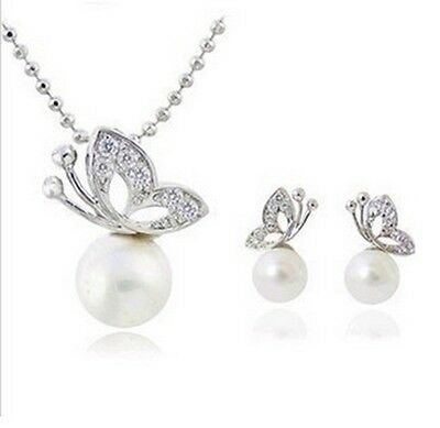 Women's Imitation Pearl Crystal Butterfly Jewellery Set. Necklace and Earrings