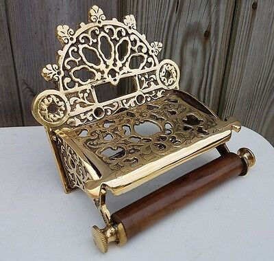 Victorian Style Toilet Roll Holder Solid Brass With Wooden Loop