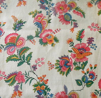 Vintage French Jacobean Indienne Floral Fabric ~ Pink Green Yellow Blue