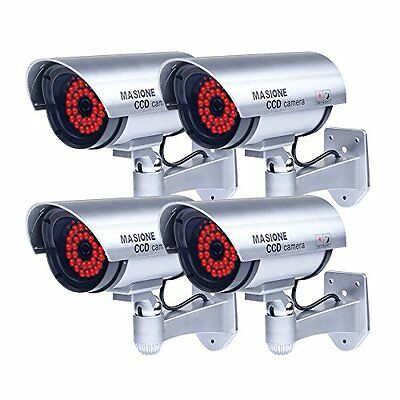 Masione® 4 Pack Outdoor Fake / Dummy Security Camera with 30 Illuminating LED...