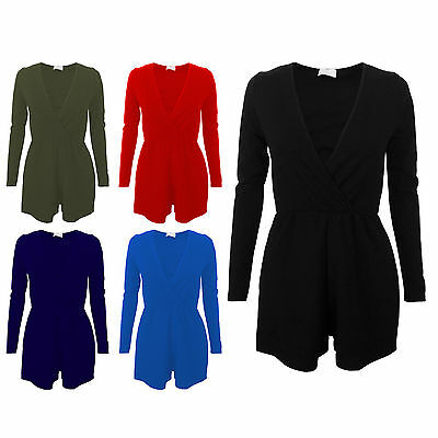 Ladies Womens Plain Crepe Wrapover V Neck Long Sleeve Playsuit Romper Size 8-14