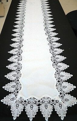 Long Handmade Thick Lace Table Runner Wedding Decoration White 48cm x 180cm
