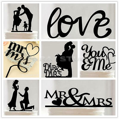 Wedding Party Anniversary Silhouette Cake Topper Bride and Groom Black Acrylic
