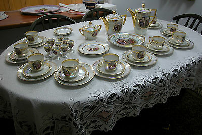 A Lovely Vienna Style Part Set Of Coffee And Tea Marked Bohemia Carlsbad 46 Psc