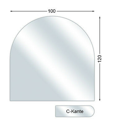 Glass bottom plate with C-Edge, Round arch, 0.2in strong, 39.4x39.4in