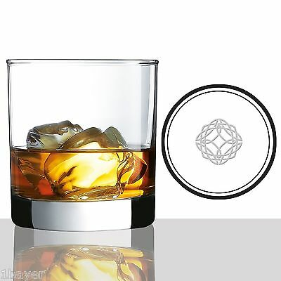 """Scotch Whisky Glasses 10oz With Etched Celtic Symbol For """"Strength"""" (Set of 2)"""