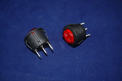 5Pcs RED Light Illuminated ROUND 2 Position Boat  Rocker Switch 3 Pin 220V AC