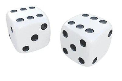 D6 Six sided White spot dice  16mm Board games NEW