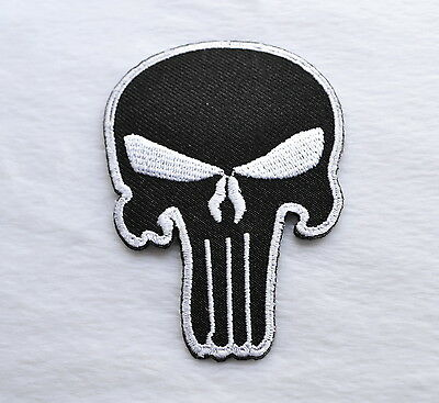 Skull,The Punisher,Patch,Aufnäher,Aufbügler,Badge,Iron On,Badge,Black