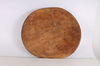 Antique Primitive Old Hand Carved Big Massive Wooden Plate.