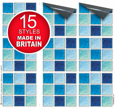 "9 Tile Transfer Stickers 4"" x 4"" AQUATAINE for Kitchen & Bathroom tiles"