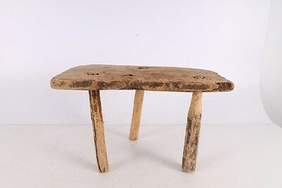 Antique Primitive Old Interesting Handmade Wooden Wood Stool Chair.
