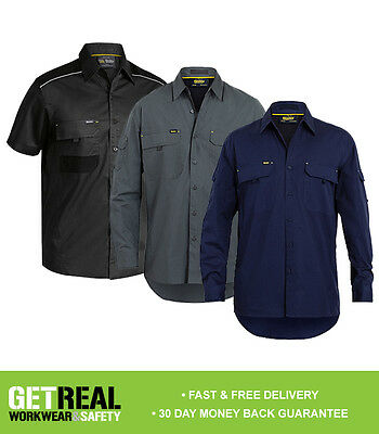 Bisley Workwear - Men's Shirt L/S X Airflow Ripstop Navy Black Charcoal (BS6414)