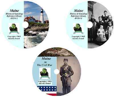 268 old books - MAINE  - History Genealogy Civil War Collection - DVD CD ME