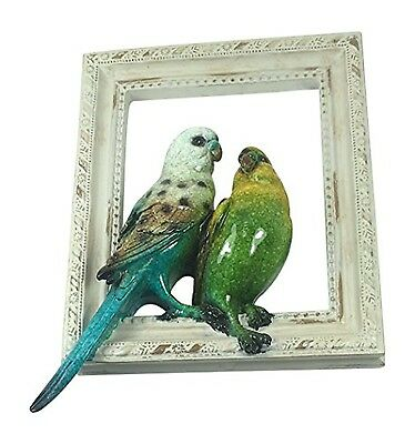 """Pair of Parakeets on Picture Frame - 6"""" x 8"""""""