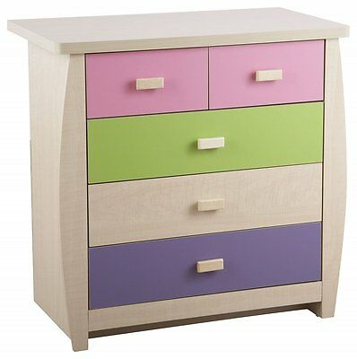 Children's Chest of Drawers 3 + 2 Pink Lilac 5 Drawer Girls Bedroom Furniture