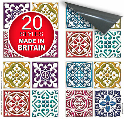 "4 Tile Transfer Stickers 6"" x 6"" MOROCCAN MOSAIC for Kitchen & Bathroom tiles"