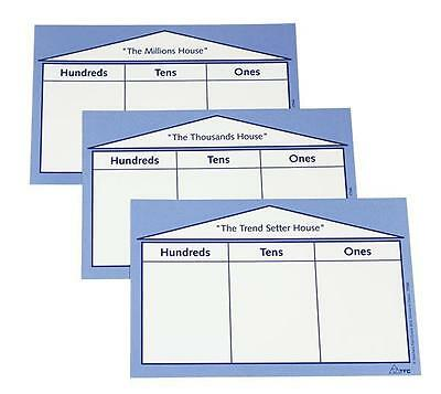 Laminated Place Value House Card pk of 3 Teacher Resource Learing Maths Kids