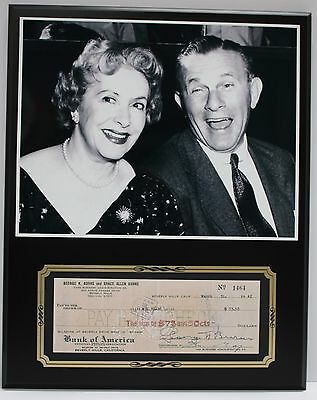 George Burns And Gracie Reproduction Signed Limited Edition Check  Display