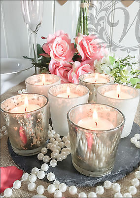 Set of 6 Mercury Silver Glass Votive Tea Light Candle Holder Wedding Decoration