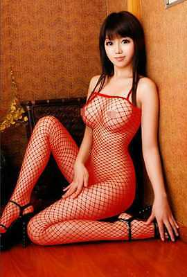 Sexy Red Lace Fishnet Crotch Less Bodysuit Body Stocking Cat Suit Lingerie