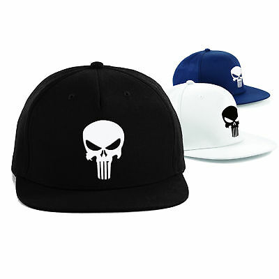 PUNISHER Cap Superhero Snapback Rapper Hat, MARVEL Comics Embroidered Cap