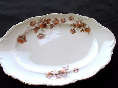 "MITTERTEICH BAVARIA GERMANY NORWAY ROSE oval SERVING PLATTER 15"" X 10 1/4"""