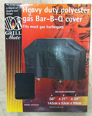 Grill Mate 018238 HEAVY DUTY POLYESTER GAS BBQ BARBECUE COVER 56X21X39 black NEW
