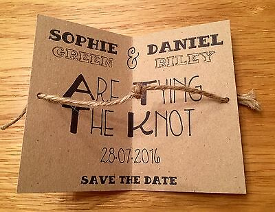 Tying The Knot Save the Date Tags / Cards with Envelopes - Wedding Invitations