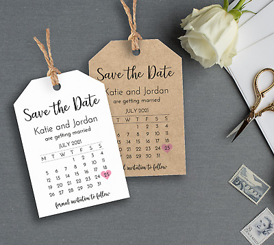 Rustic Calendar Save the Date Tags / Cards (with Envelopes) -Wedding Invitation