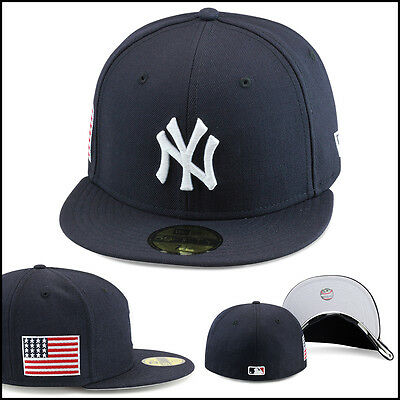 New Era New York Yankees Fitted Hat Cap All Navy/USA US American Flag/MLB Back