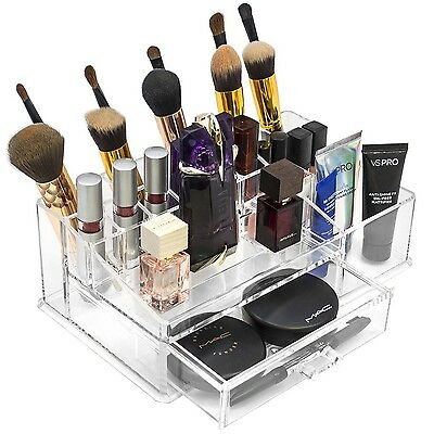 Sorbus Acrylic Cosmetics Makeup and Jewelry Storage Case Display Sets -Interl...
