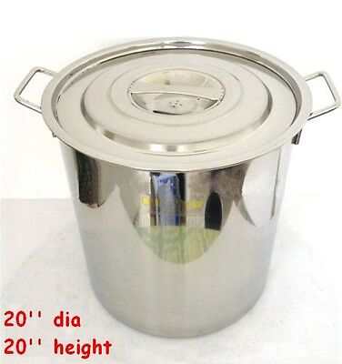 20inch Polished 304 Stainless Steel Stock Pot Brewing Kettle Large With Lid